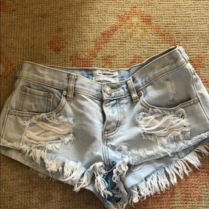 One Teaspoon Trash Whores distress jean shorts 26